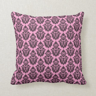 Pink and black damask girly custom pillow