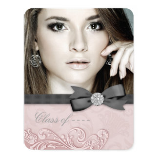"""Pink and Black Damask Graduation Announcement 4.25"""" X 5.5"""" Invitation Card"""