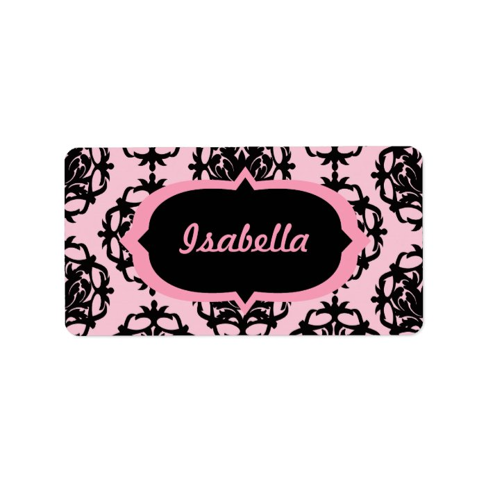 Pink and Black Damask Label