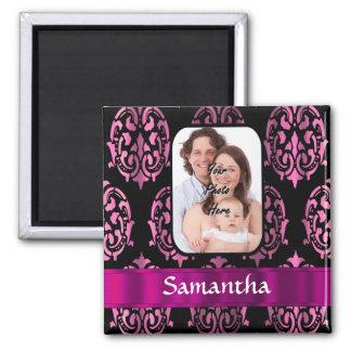 Pink and black damask magnet