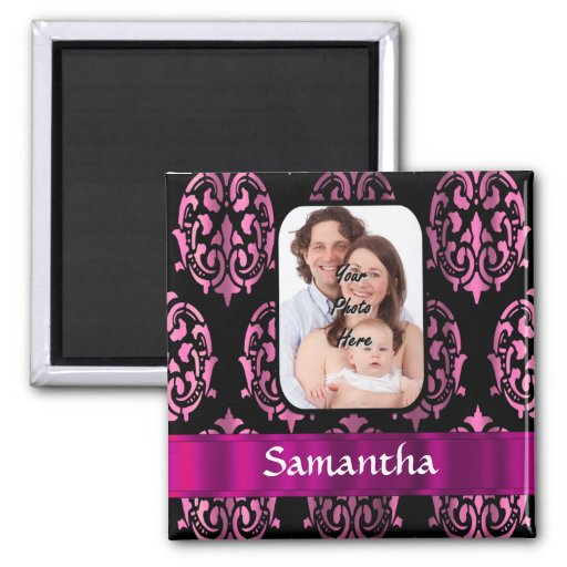 Pink and black damask magnets