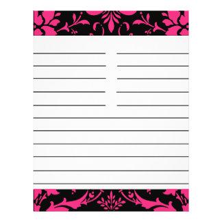 Pink and Black Damask Matching Recipe Paper