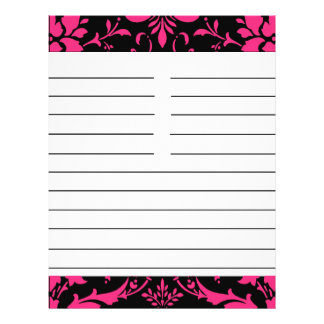 """Pink and Black Damask Matching Recipe Paper 8.5"""" X 11"""" Flyer"""