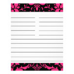 Pink and Black Damask Matching Recipe Paper Flyers