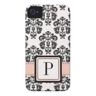 Pink and Black Damask Monogrammed Blackberry Bold iPhone 4 Case