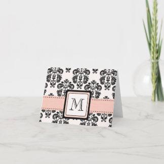 Pink and Black Damask Monogrammed Note Cards