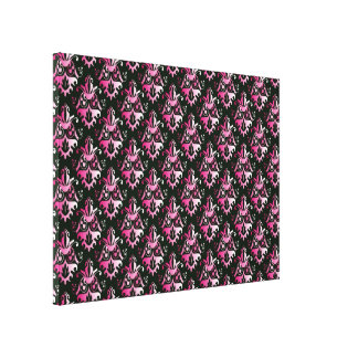 Pink and Black Damask Pattern Stretched Canvas Prints