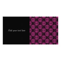 Pink and Black Damask Pattern Card