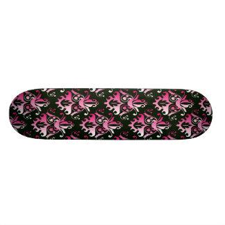 Pink and Black Damask Pattern Skate Deck