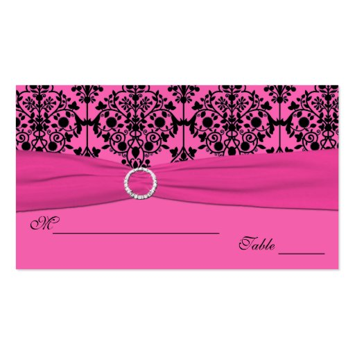 Pink and Black Damask Placecards Business Card Templates