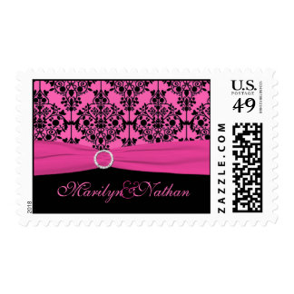 Pink and Black Damask Postage