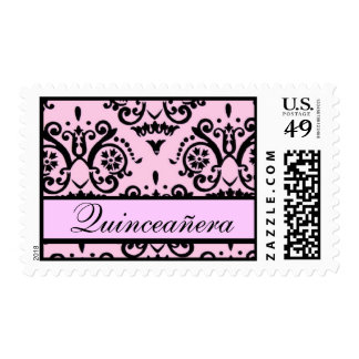 Pink and Black Damask Quinceanera Postage