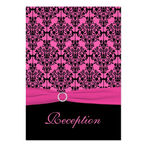 Pink and Black Damask Reception Card Business Card