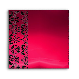 PINK AND BLACK DAMASK RED RUBY fuchsia Envelope