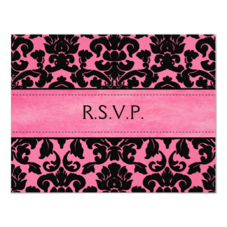 Pink and Black Damask Reply Card