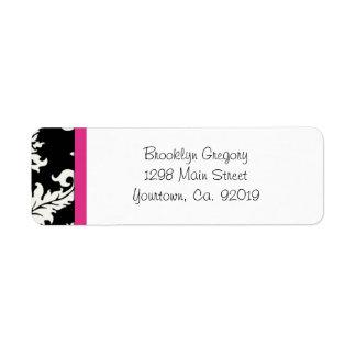 Pink and Black Damask Return Address Label