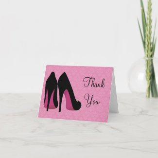 Pink and Black Damask Shoes Thank You Card
