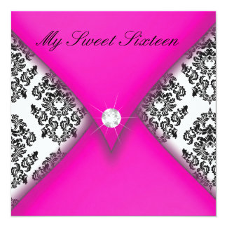 Pink and Black Damask Sweet Sixteen 5.25x5.25 Square Paper Invitation Card