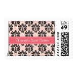 Pink and Black Damask Sweet Sixteen Postage Stamps