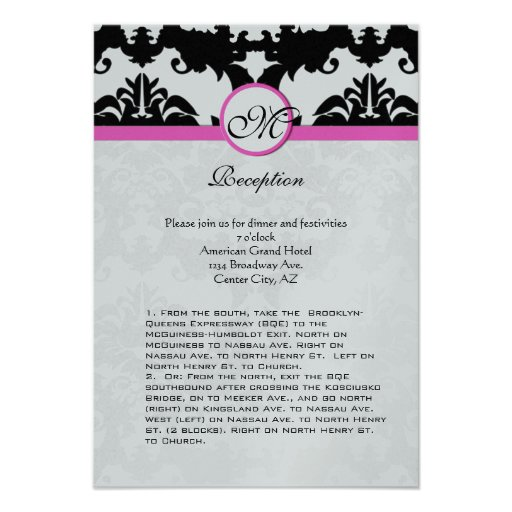 Pink and Black Damask Swirls Ditection Card Custom Announcement