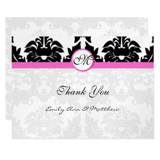 Pink and Black Damask Swirls Thank You Card