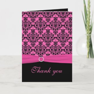 Pink and Black Damask Thank You Card card