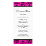 Pink and Black Damask w/ Green Slim Dinner Menu Full Color Rack Card