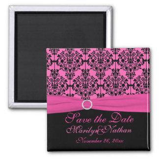 Pink and Black Damask Wedding Favor Magnet