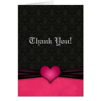Pink and Black Damask Wedding Thank You Cards