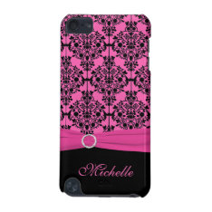 Pink And Black Damask With Faux Ribbon Ipod Touch Ipod Touch (5th Generation) Case at Zazzle