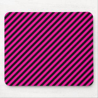 Pink and Black Diagonal Stripes Mouse Pad