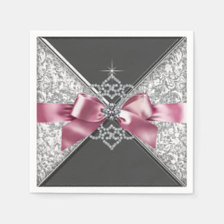Pink and Black Diamond Bow Napkin