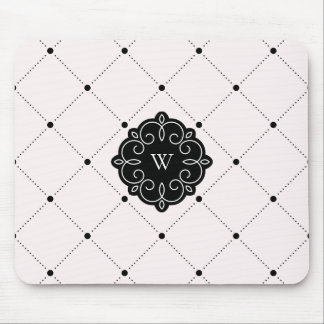 Pink and Black Diamond Dots Pattern Monogram Mouse Pad