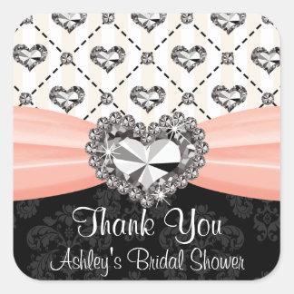 Pink and Black Diamond Heart Thank You Sticker Lab