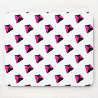 Pink and Black Diamond Kite Pattern Mouse Pad