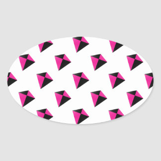 Pink and Black Diamond Kite Pattern Oval Sticker