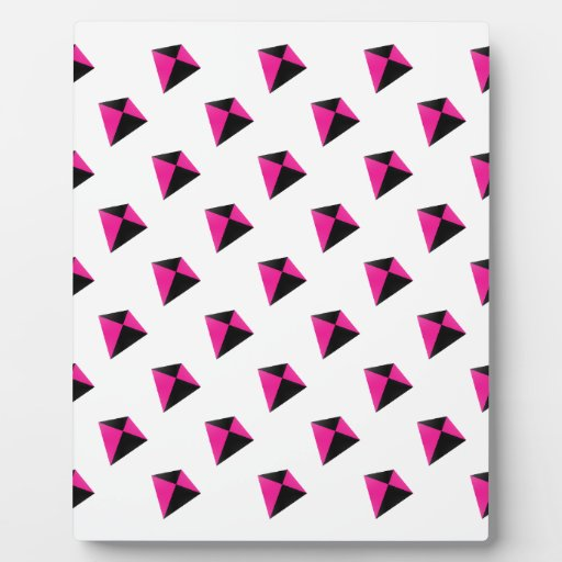 Pink and Black Diamond Kite Pattern Display Plaques