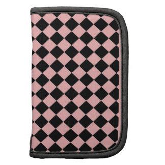 Pink and Black Diamond Pattern Folio Planners