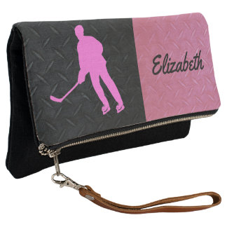 Pink and Black Diamond Plate Hockey Clutch