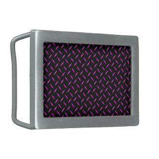 Pink and Black Diamond Plate Rectangular Belt Buckle