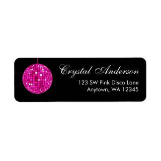 Pink and Black Disco Ball Return Address Label