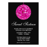 Pink and Black Disco Ball Sweet Sixteen Birthday Invitation
