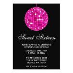 "Pink and Black Disco Ball Sweet Sixteen Birthday 5"" X 7"" Invitation Card"