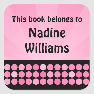 Pink and black disco dots bookplate stickers