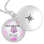 Pink and Black Disco Soccer Ball Round Locket Necklace