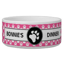 Pink And Black Dog Paws With Custom Text Bowl
