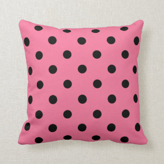 Pink and Black Dots French Paris Pink Pillow