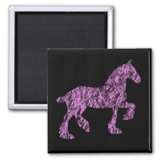 Pink and Black Draft Horse Silhouette Magnet