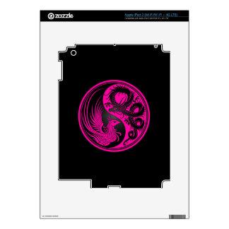 Pink and Black Dragon Phoenix Yin Yang Skin For iPad 3