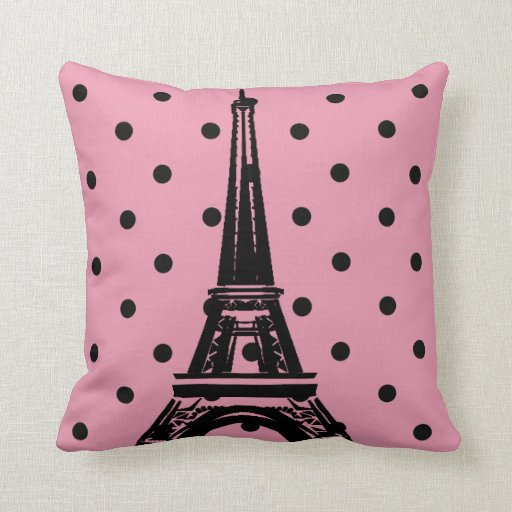 Pink and Black Eiffel Tower Pillows